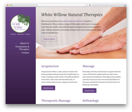 BeautySpot WordPress shopping theme - whitewillowtherapies.co.uk