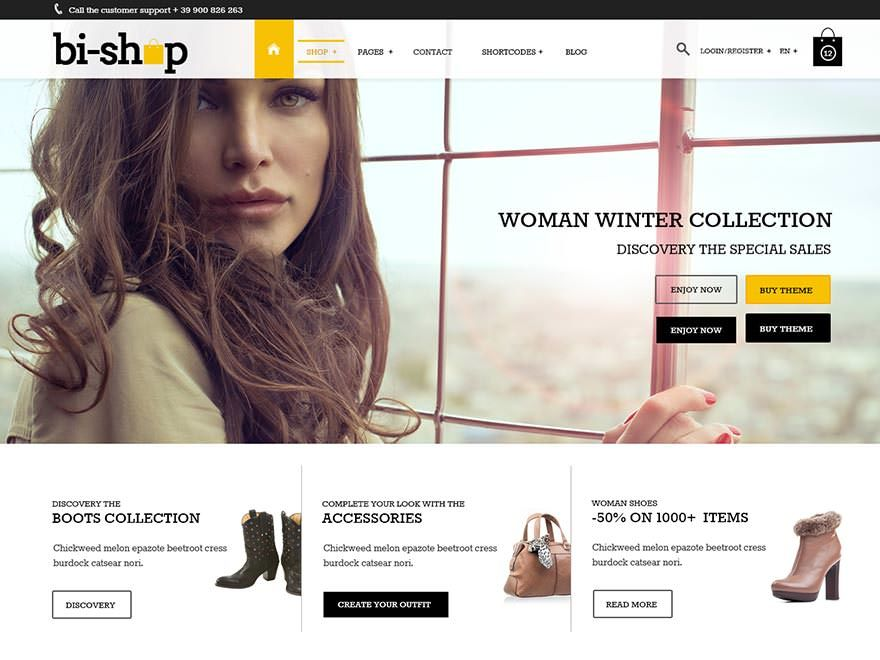 Bi-Shop WordPress store theme