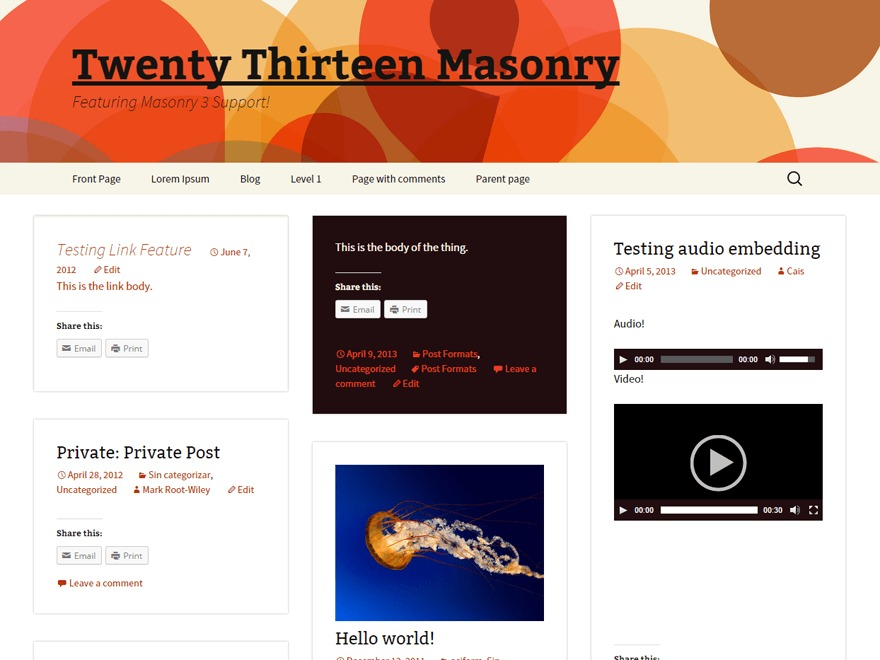 Blogsonry template WordPress free