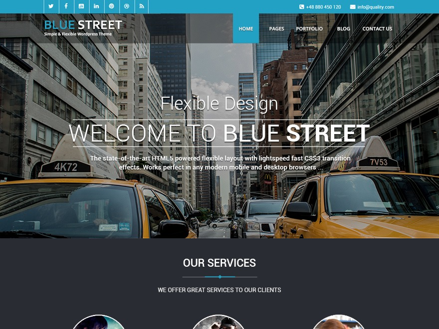 Bluestreet free WordPress theme