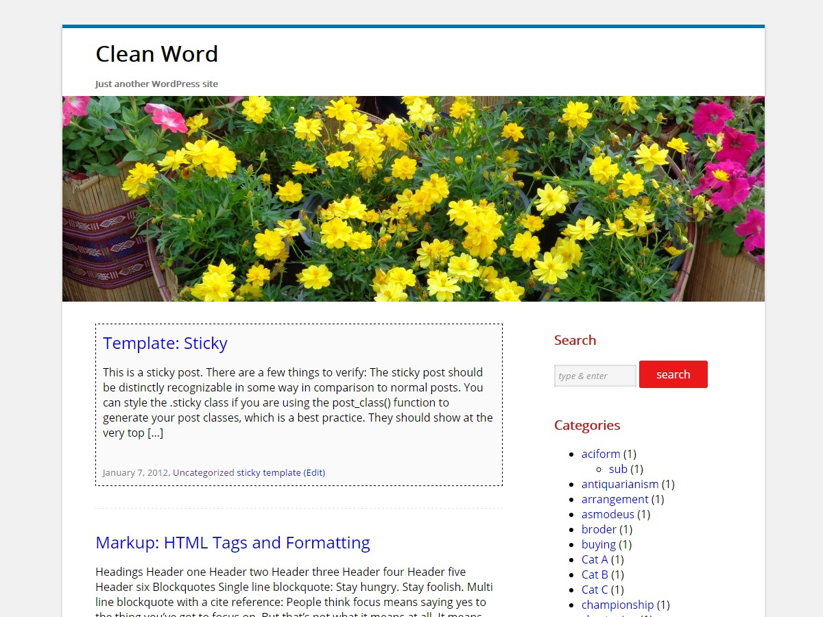 Clean Word free WordPress theme