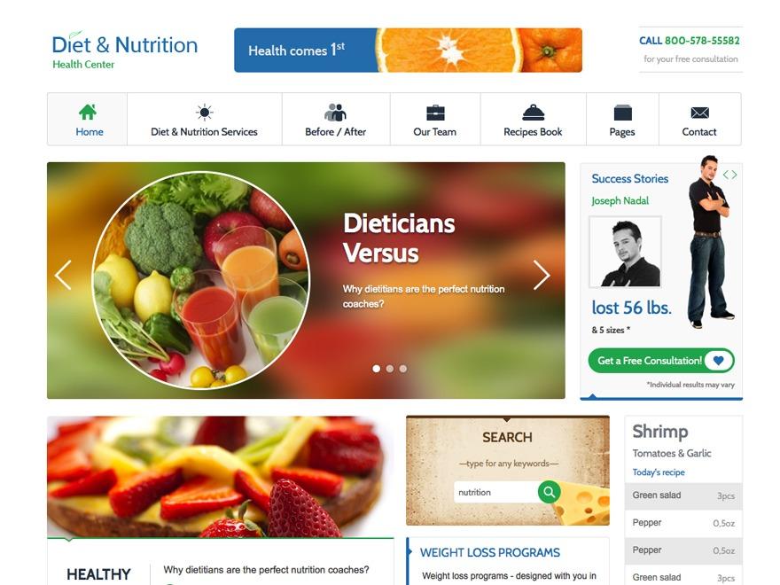 Diet & Nutrition Health Center fitness WordPress theme