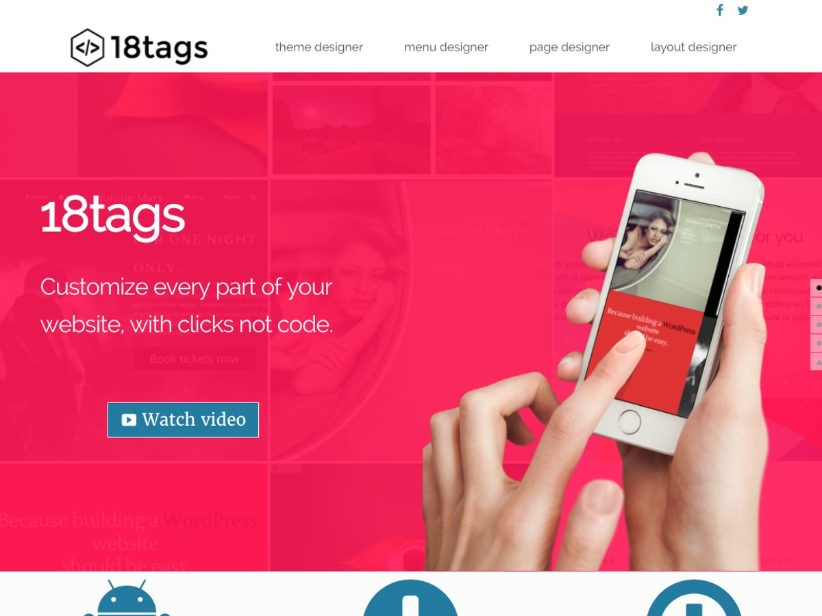 Eighteen tags free WordPress theme