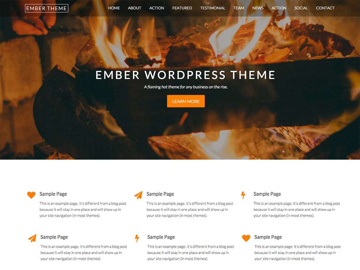 Ember Pro business WordPress theme