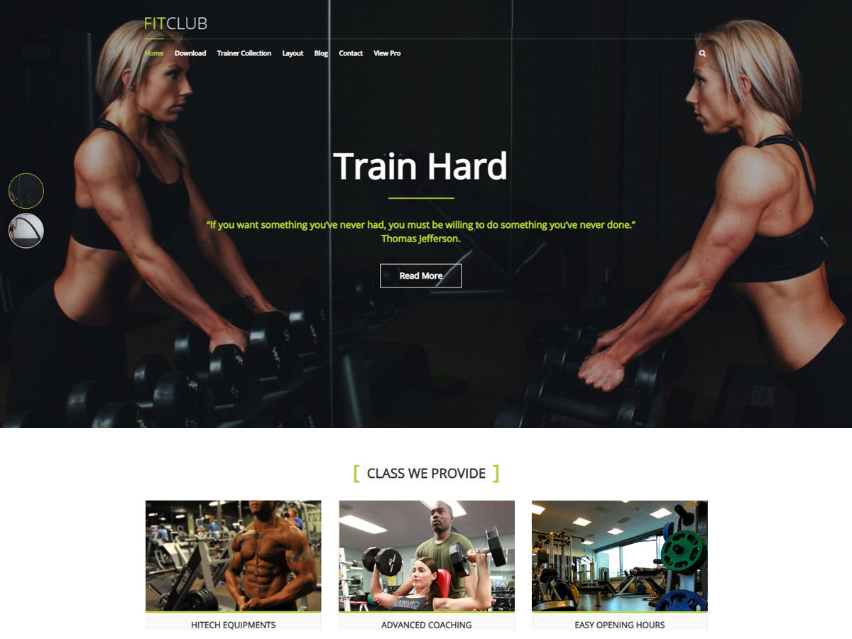 FitClub WordPress theme free download