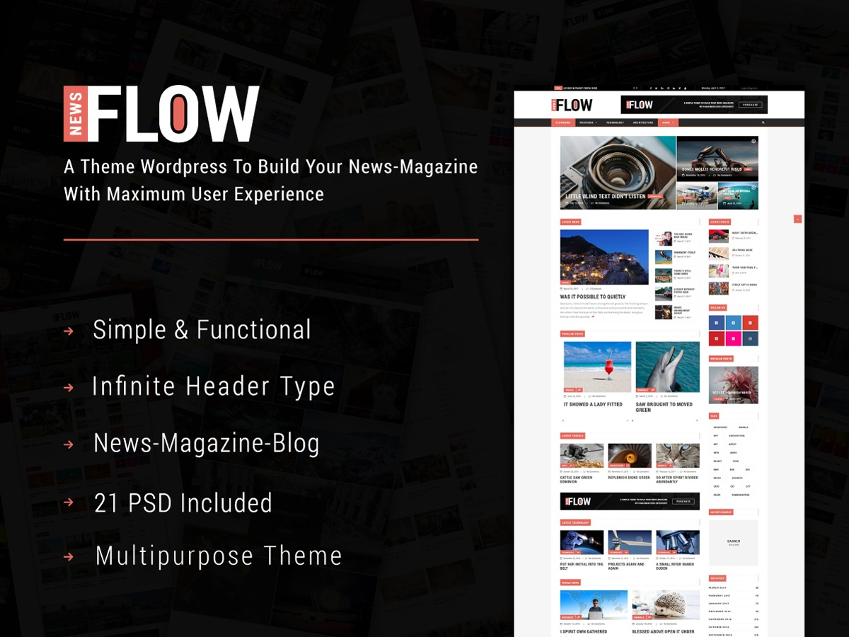 FlowNews WordPress news template