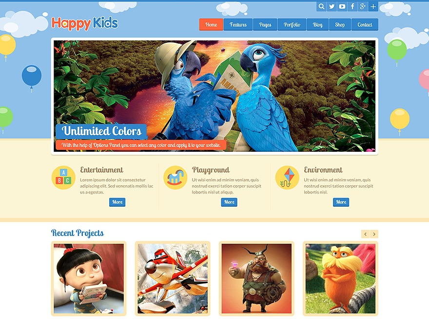 Happy Kids Child Theme top WordPress theme