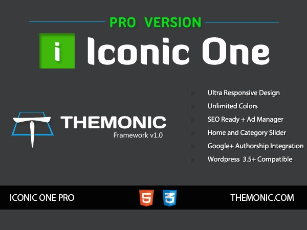 Iconic One Pro (shared on wplocker.com) WordPress blog template
