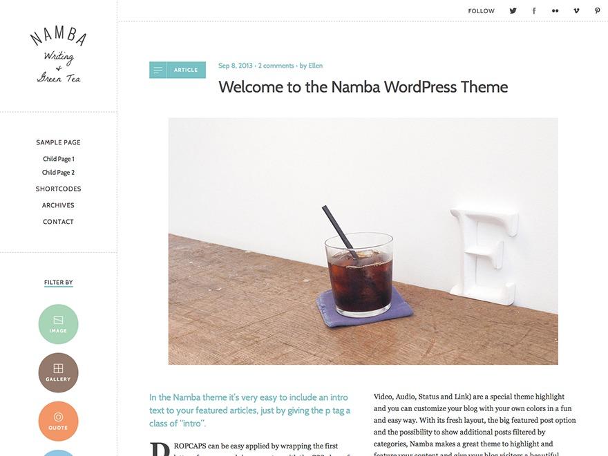 Namba WordPress blog template