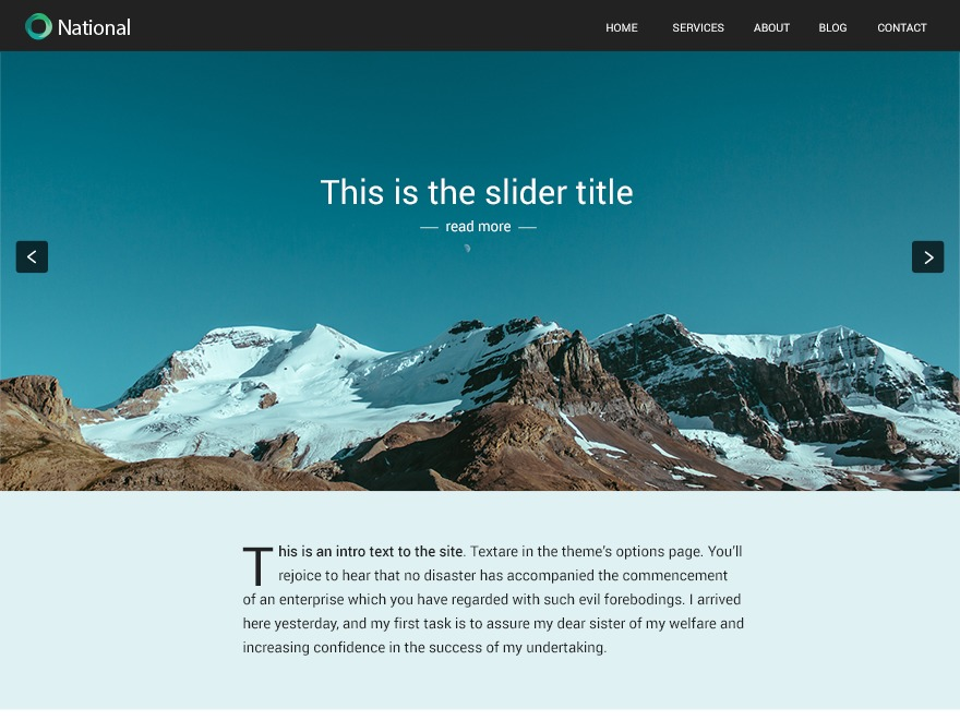 National photography WordPress theme