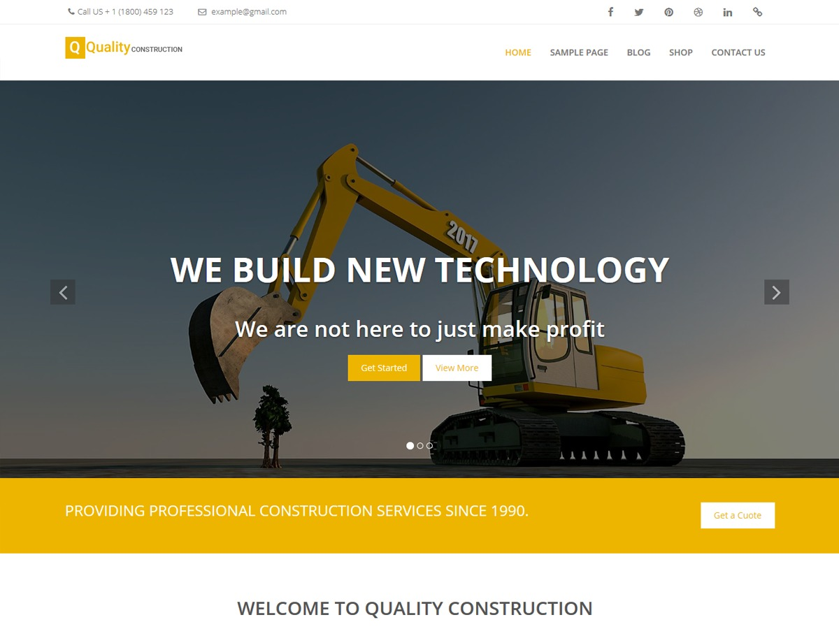 Quality Construction WordPress template free download