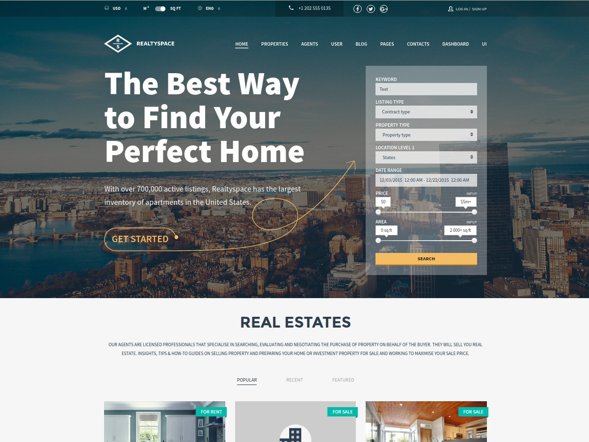 Realtyspace real estate WordPress theme