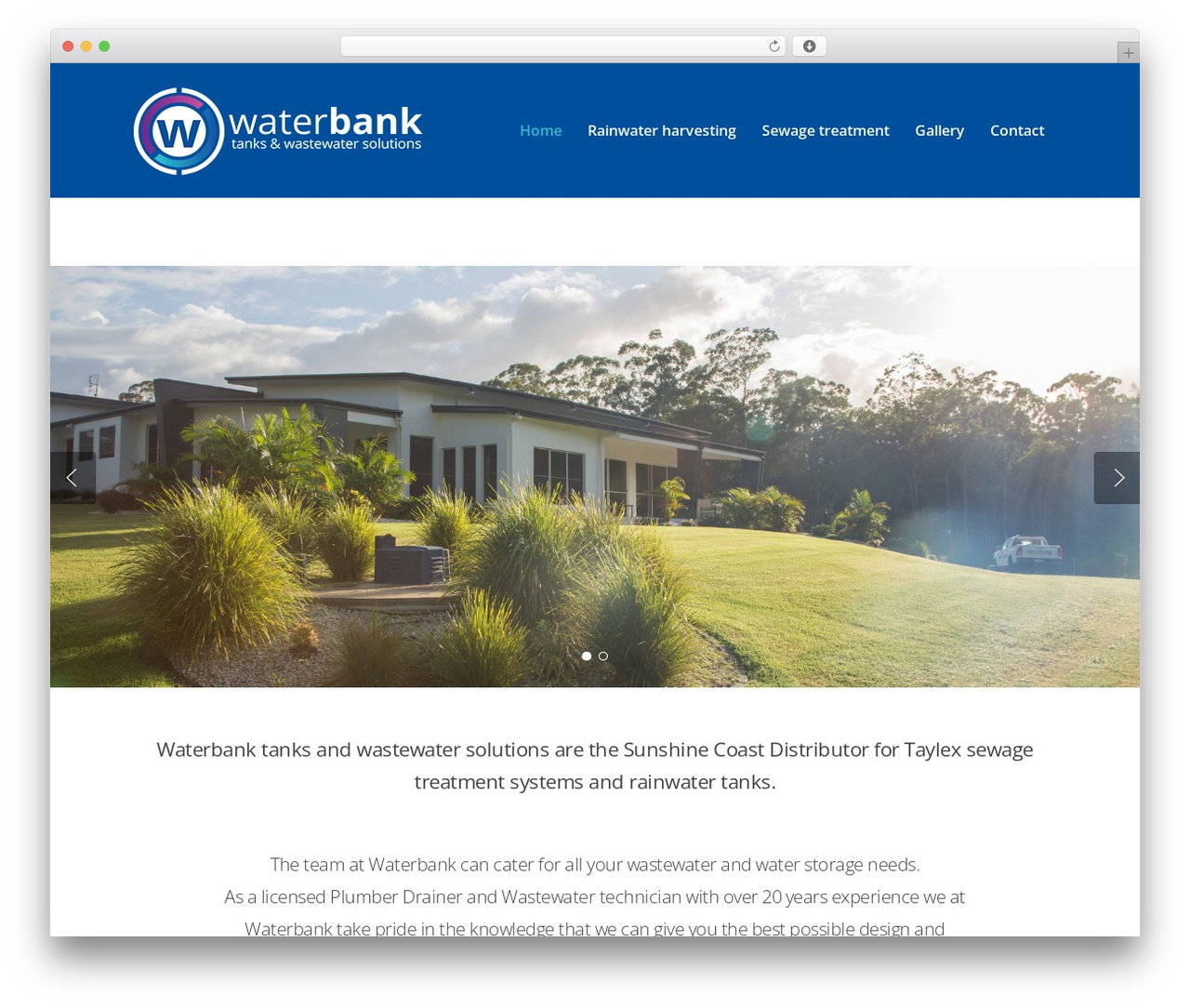 Salient best WordPress theme - waterbanktanks.com.au
