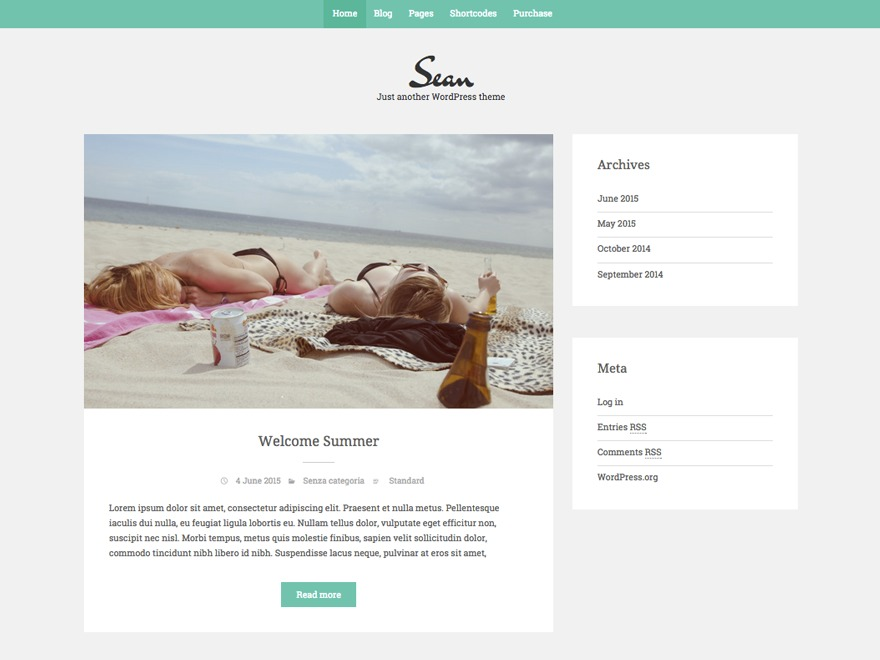 Sean Lite theme WordPress free