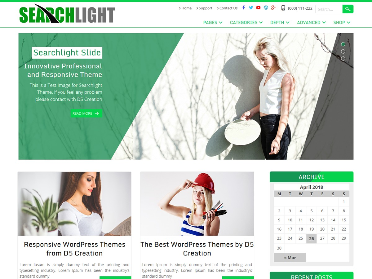 Searchlight template WordPress free