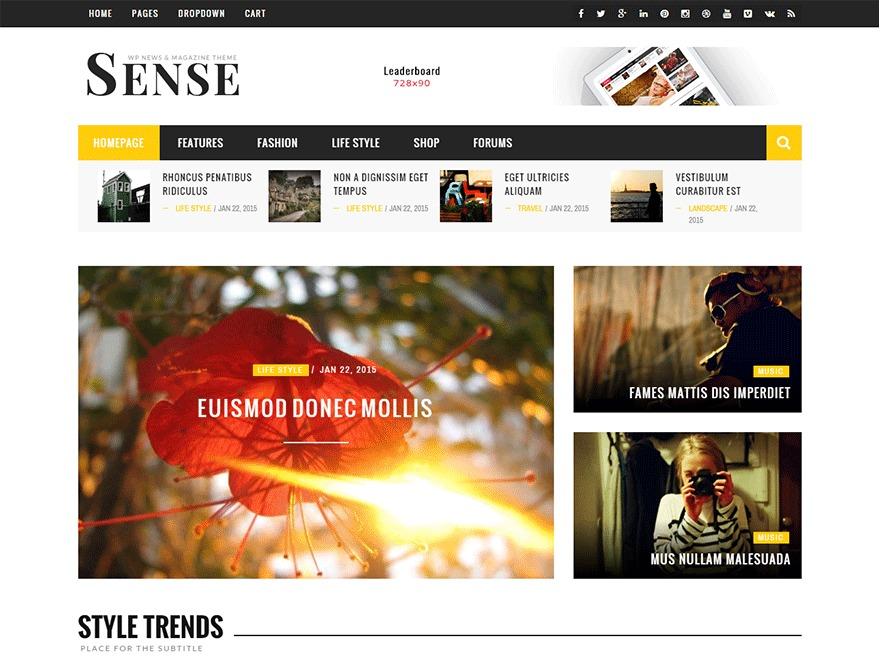 Sense WordPress blog theme
