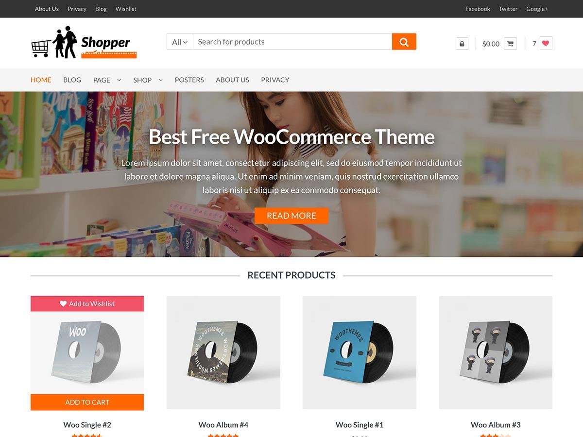 Shopper best free WordPress theme