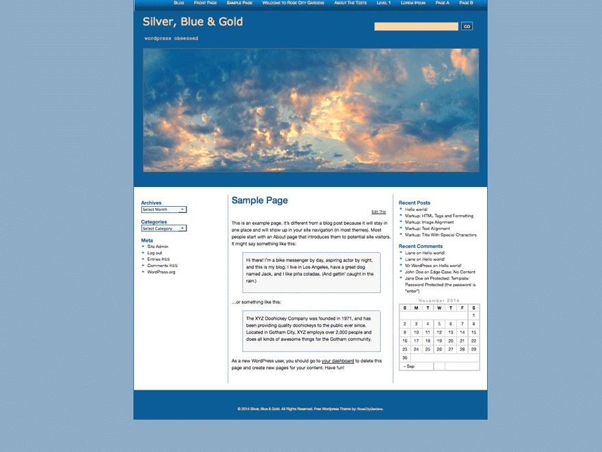Silver, Blue & Gold wallpapers WordPress theme