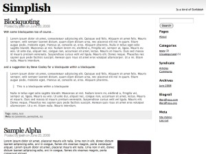 Simplish WordPress blog template
