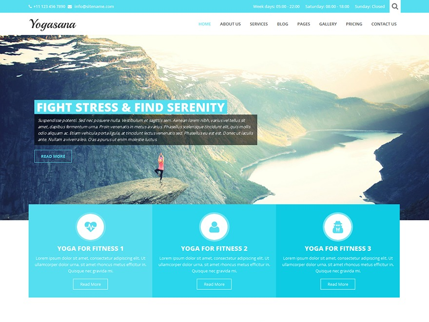 SKT Yogi Pro fitness WordPress theme