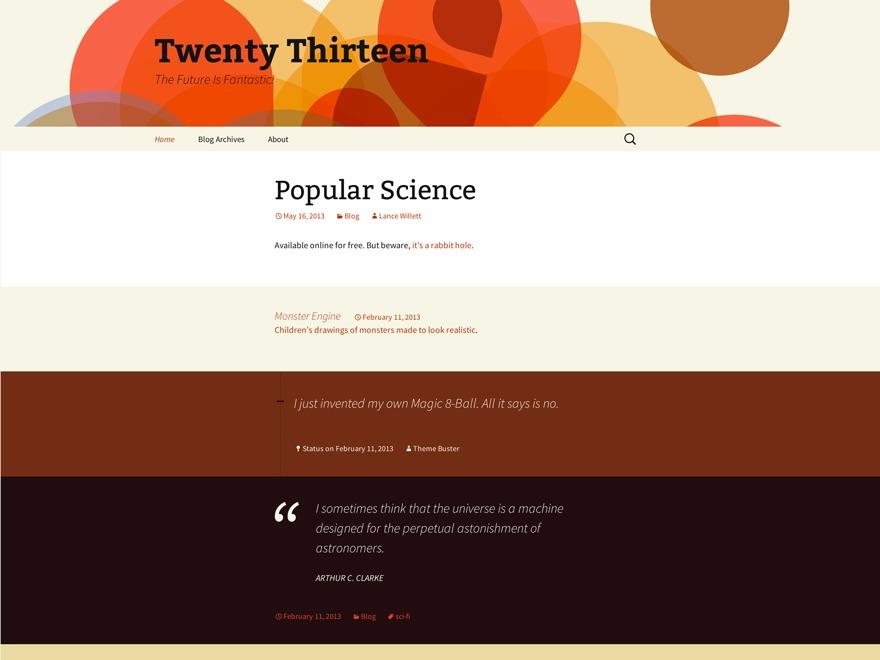 Twenty Thirteen WordPress template for photographers