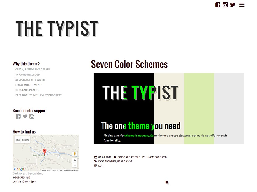 Typist best free WordPress theme