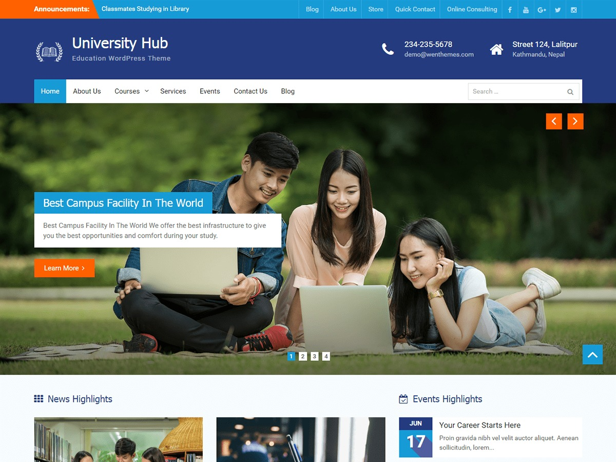 University Hub theme WordPress free