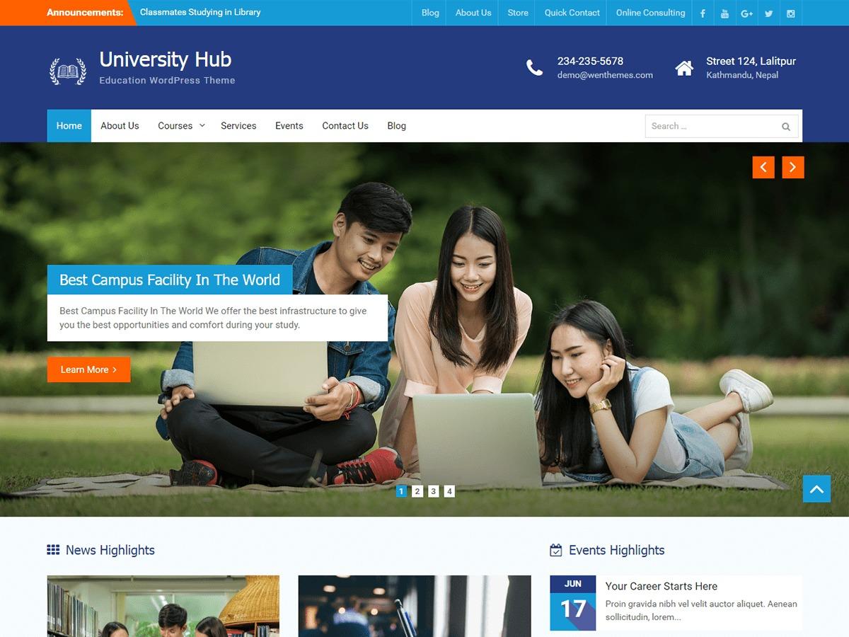 University Hub theme WordPress free