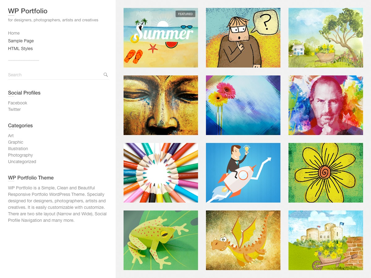 WP Portfolio WordPress template for photographers