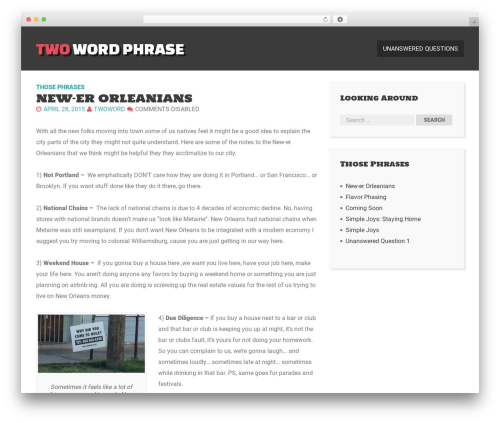 Here Ya Go WordPress template free - twowordphrase.com/phrases