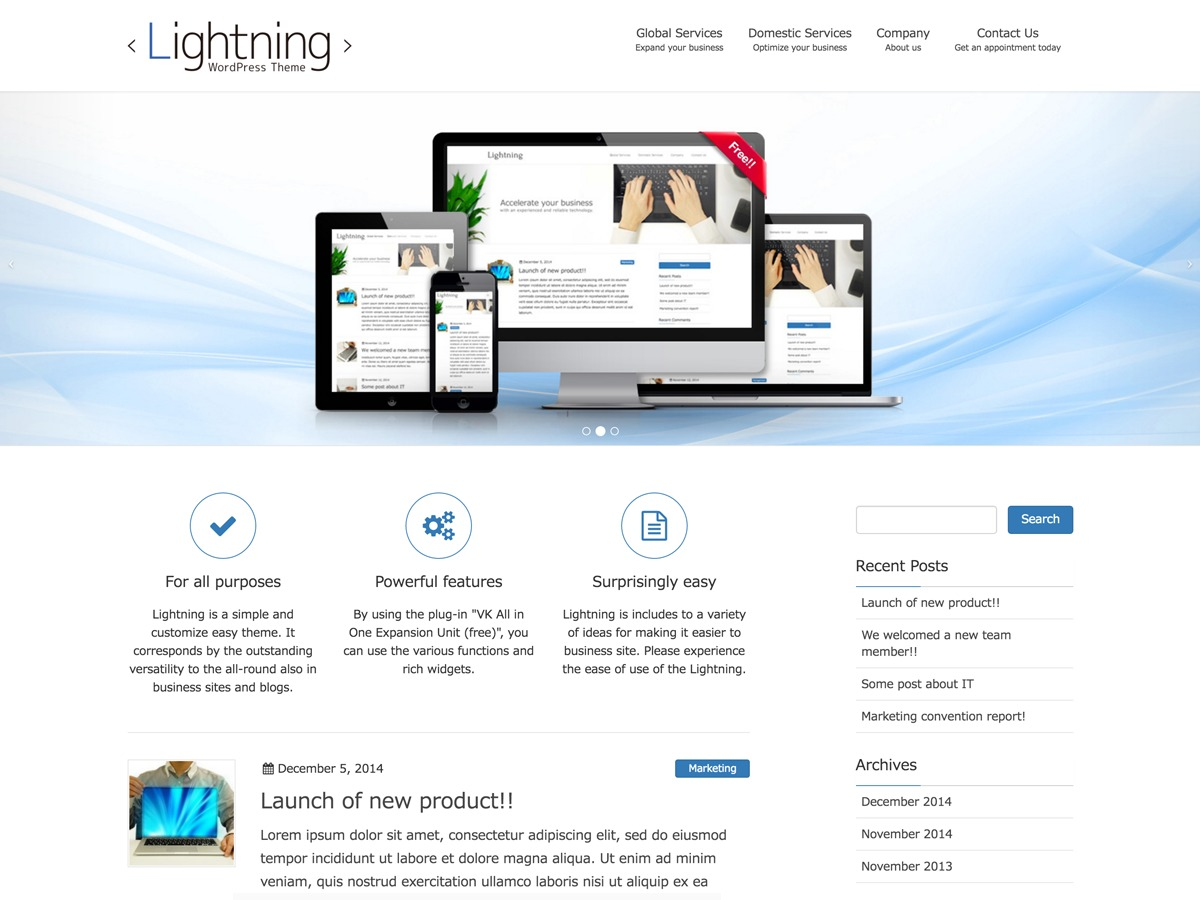 Lightning Child WordPress theme