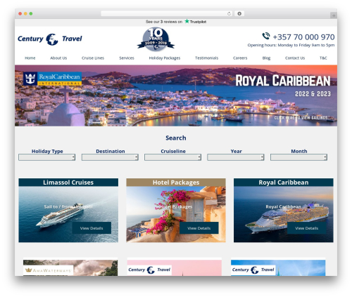 Century Travel WordPress travel theme - centurycyprus.com