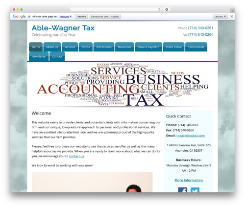 Customized business WordPress theme - awitax.com