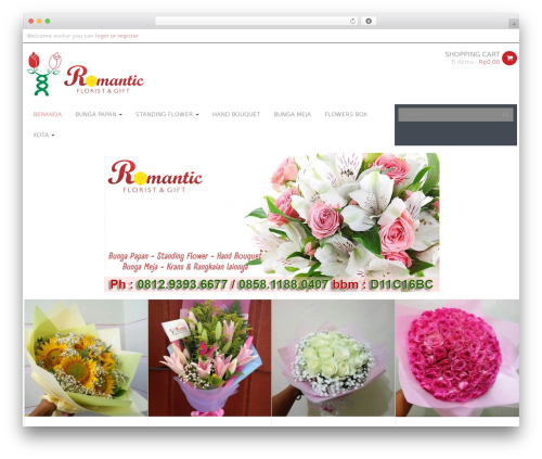 WPO Shopping WordPress ecommerce template - romanticflorist.com