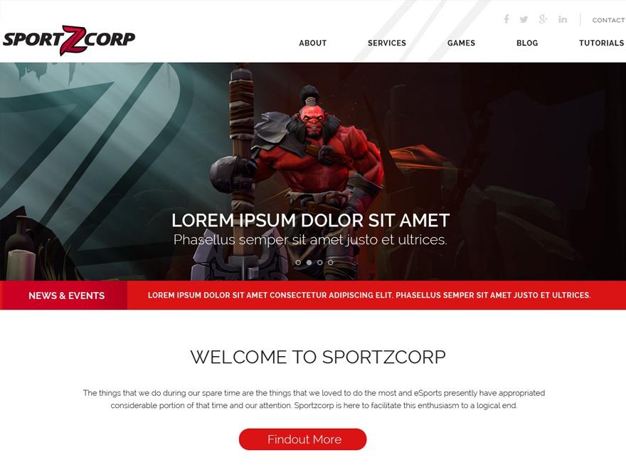 sportzcorp WordPress template for business