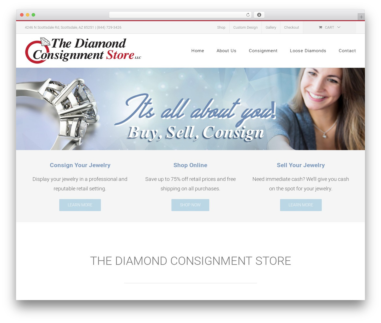 Avada WordPress shopping theme - thediamondconsignmentstore.com