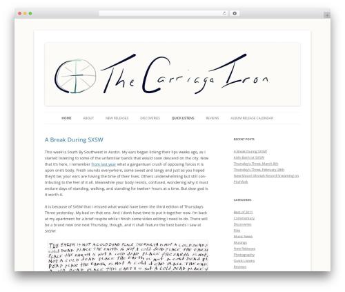 Twenty Twelve Child WordPress website template - thecarriageiron.com