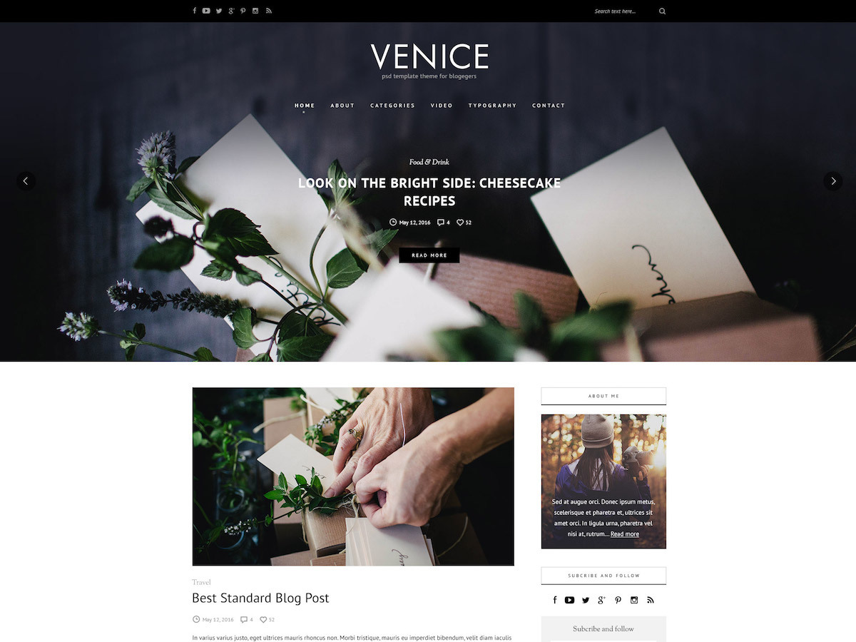 Venice WordPress blog template