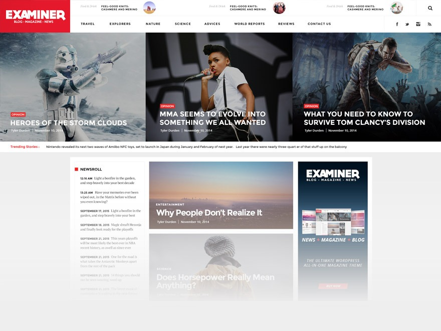 Examiner Child WordPress page template