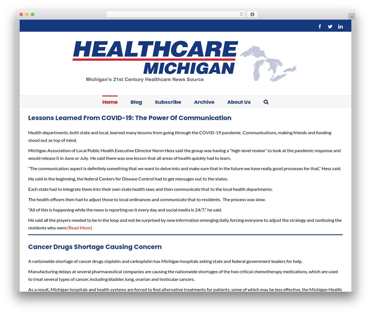 Avada WordPress website template - healthcaremichigan.com