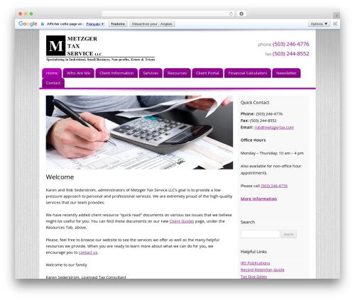Customized WordPress template for business - metzgertax.com