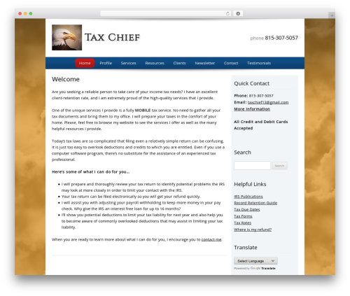 Customized WordPress theme design - thetaxchief.com
