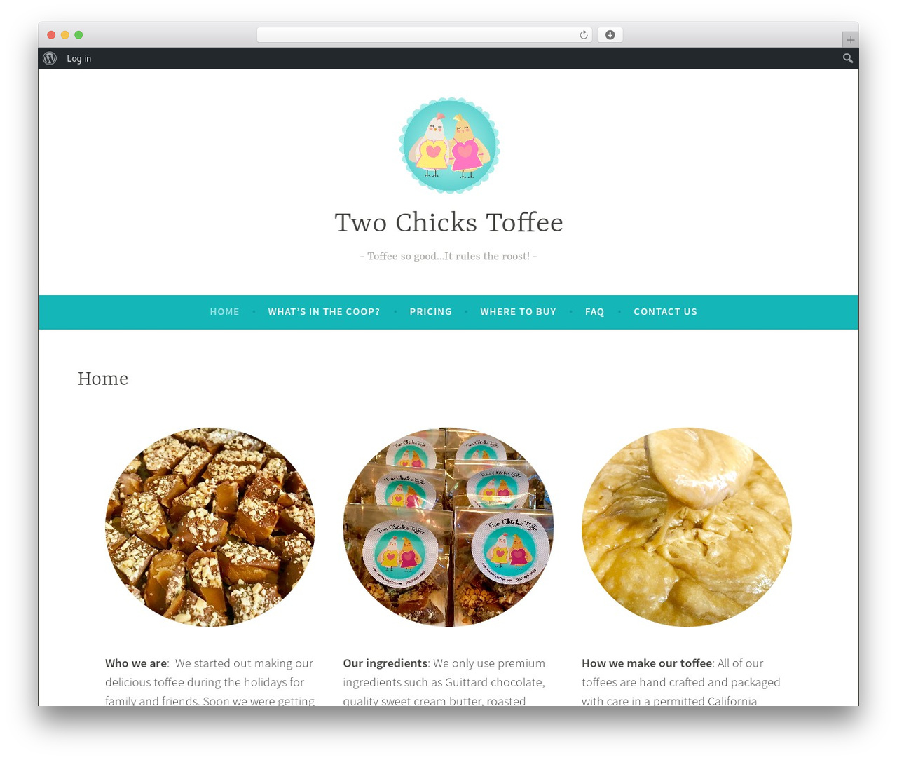 Dara free WordPress theme - twochickstoffee.com