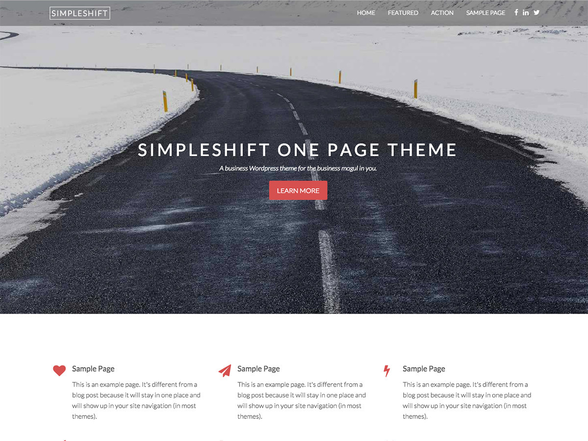 SimpleShift Pro company WordPress theme