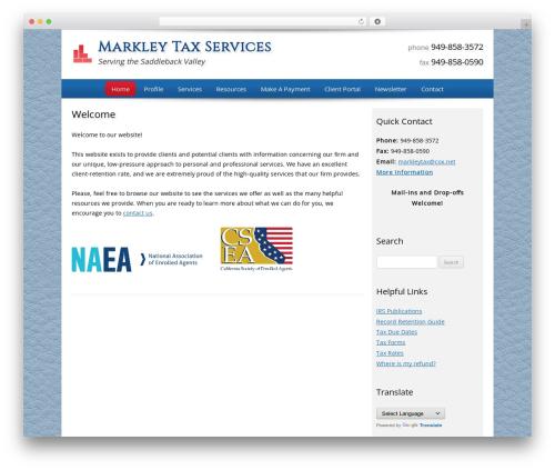Customized company WordPress theme - markleytaxservices.com