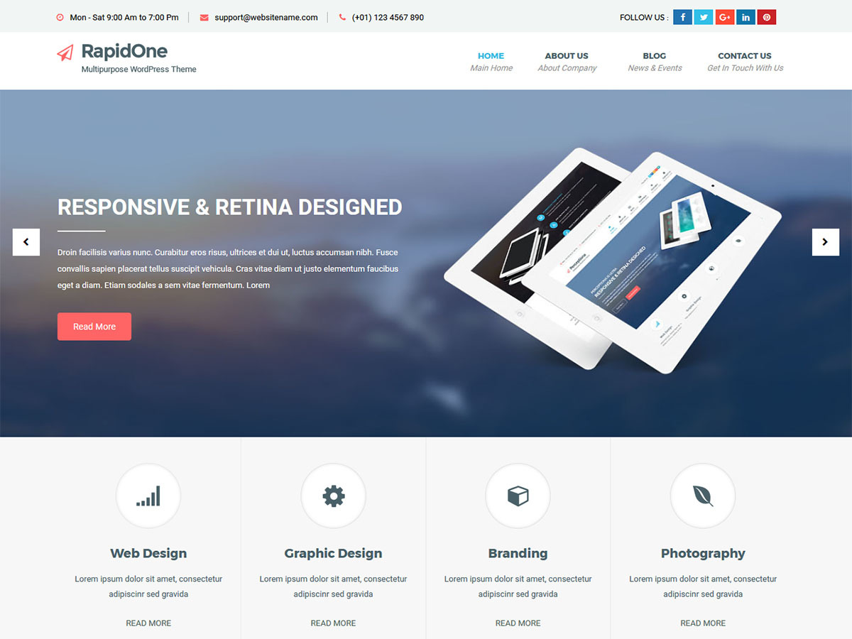 RapidOne Lite WordPress template for business