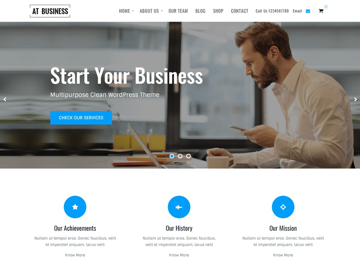 AT Business WordPress template for business