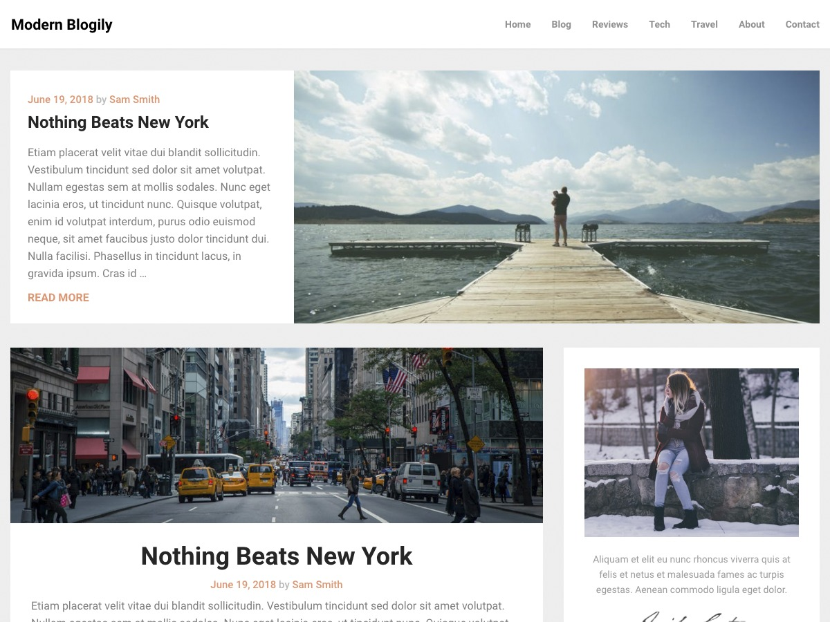 ModernBlogily WordPress blog template