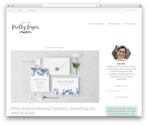 WP template Tasteful Theme - alltheprettypaper.com