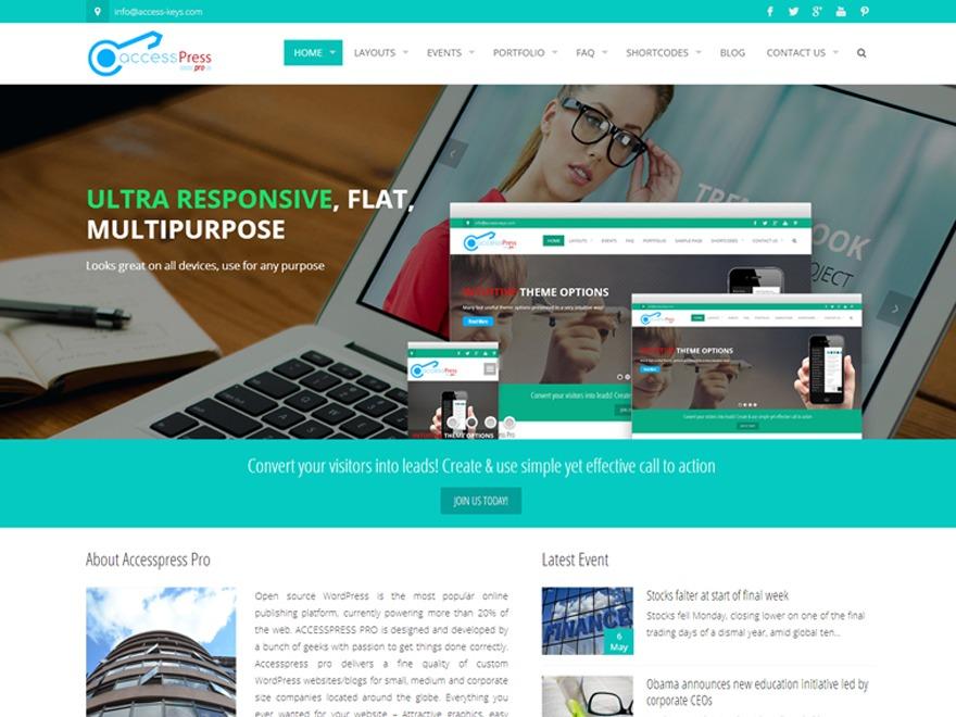 Accesspress Pro child top WordPress theme